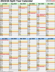 Template 5: PDF template for split year calendar 2023/24 (portrait orientation, 1 page, two 6-months blocks)