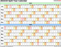 Template 3: PDF template for split year calendar 2023/24 (landscape orientation, days horizontally (linear), 1 page, in color)