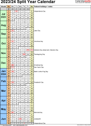 Template 8: PDF template for split year calendar 2023/24 (portrait orientation, 1 page, days in continuous (rolling) layout)