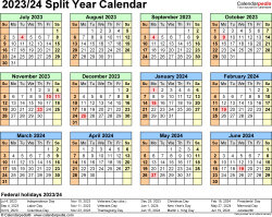 Template 4: 2023/2024 split year/half year calendar in PDF format, landscape, 1 page, year at a glance