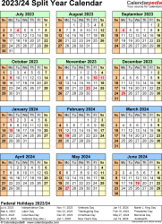 Split year calendar templates for 2023/2024 in Microsoft Excel format