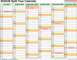 Download Template 2: Microsoft Excel template for split year calendar 2024/25 (landscape orientation, months horizontally, 2 pages)