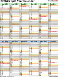 Download Template 5: Microsoft Excel template for split year calendar 2024/25 (portrait orientation, 1 page, two 6-months blocks)