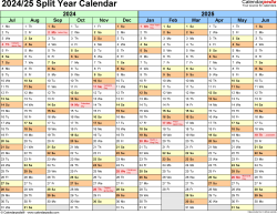 Download Template 1: Microsoft Excel template for split year calendar 2024/25 (landscape orientation, months horizontally, 1 page)