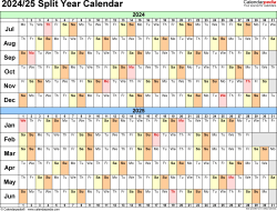 Download Template 3: Microsoft Excel template for split year calendar 2024/25 (landscape orientation, days horizontally (linear), 1 page, in color)