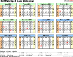 Download Template 4: 2024/2025 split year/half year calendar for Microsoft Excel (.xlsx file), landscape, 1 page, year at a glance