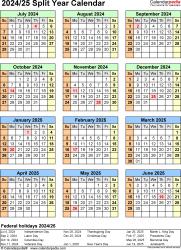 Download Template 7: Microsoft Excel template for split year calendar 2024/25 (portrait orientation, 1 page)