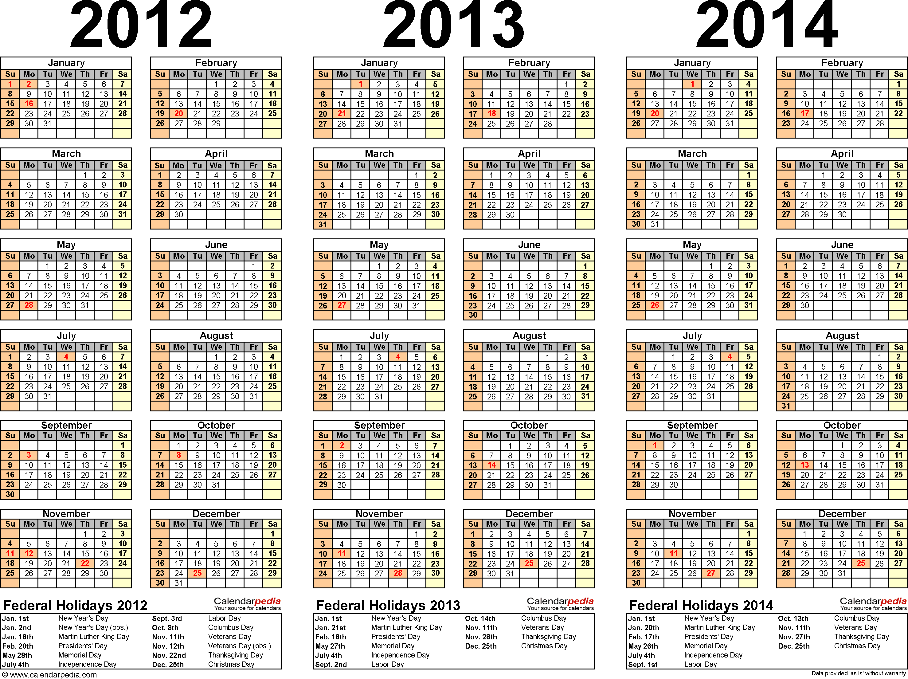 Template 2: Word template for three year calendar 2012-2014 (landscape orientation, 1 page)