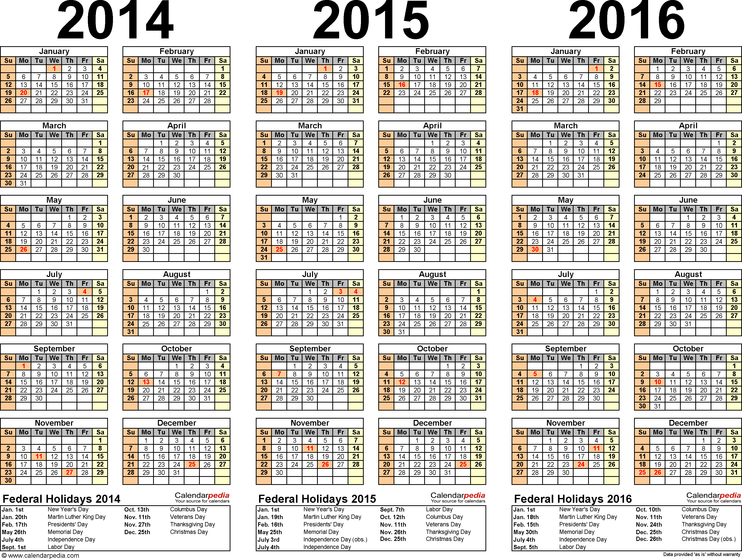 2014-2019 Yearly Calendar 2014/2015/2016 calendar   4 three year printable Excel calendars