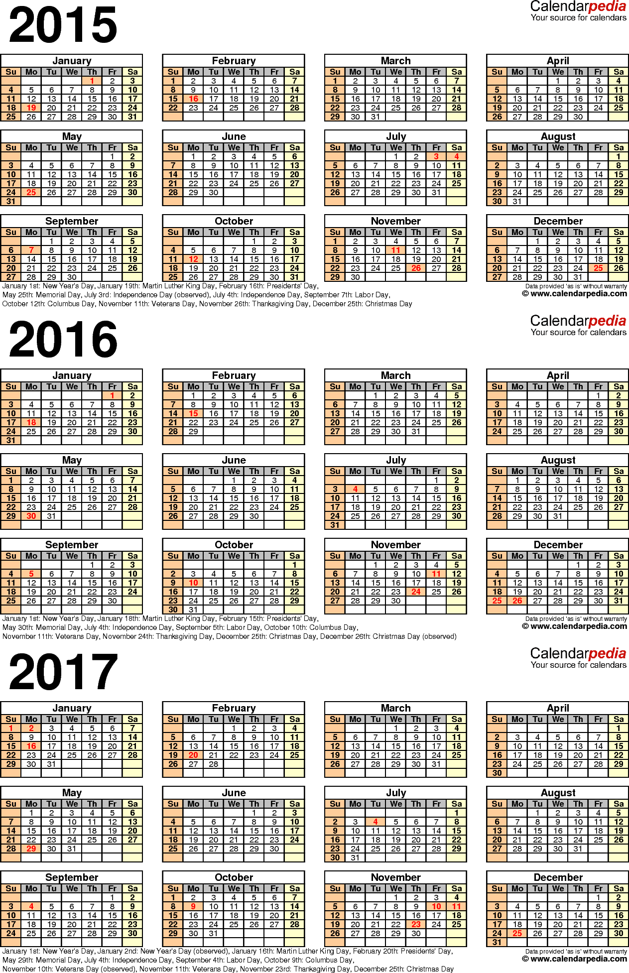 Template 4: Word template for three year calendar 2015-2017 (portrait orientation, 1 page)