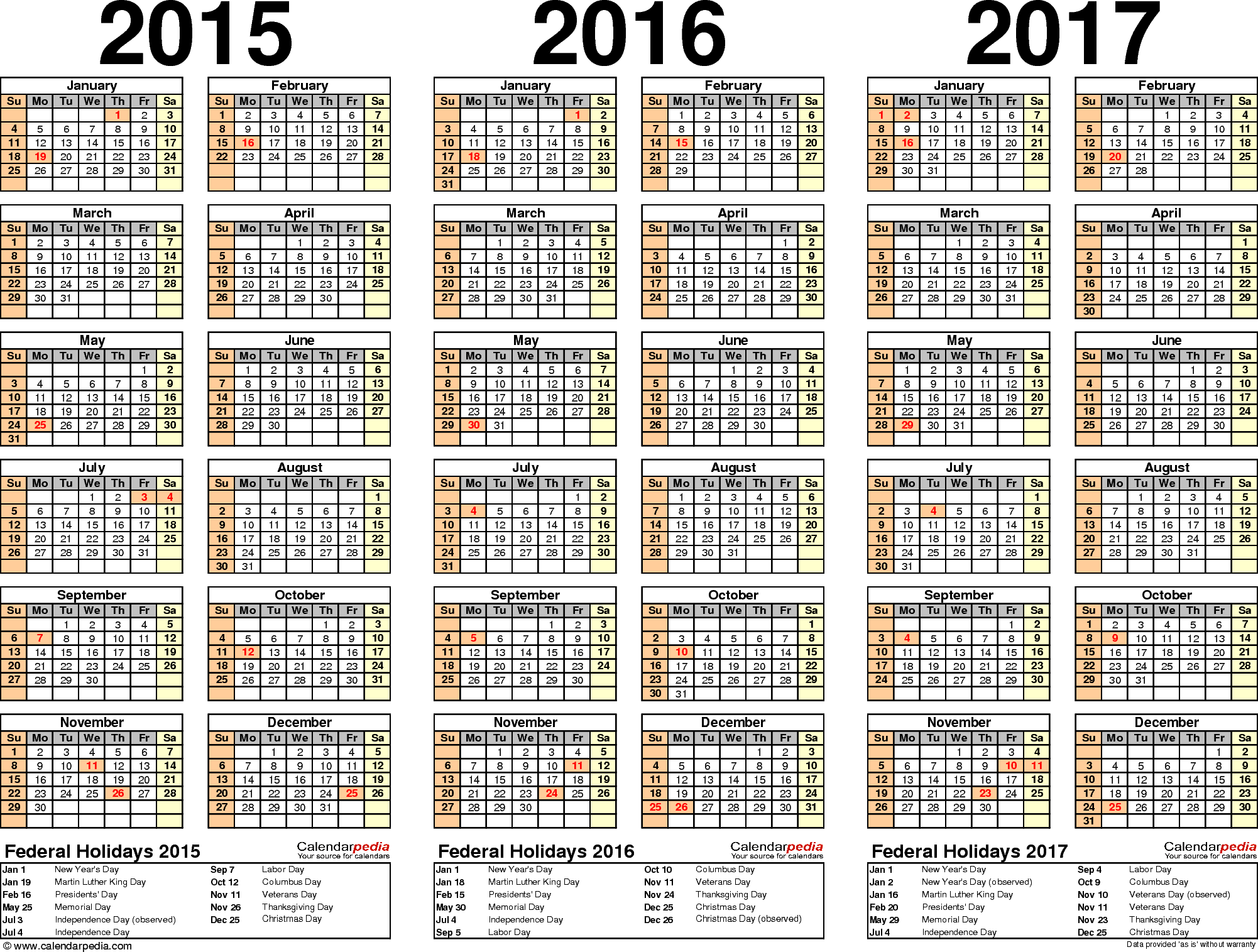 2015/2016/2017 calendar - 4 three-year printable Excel calendars