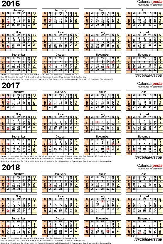 Template 4: Word template for three year calendar 2016/2017/2018 (portrait orientation, 1 page)
