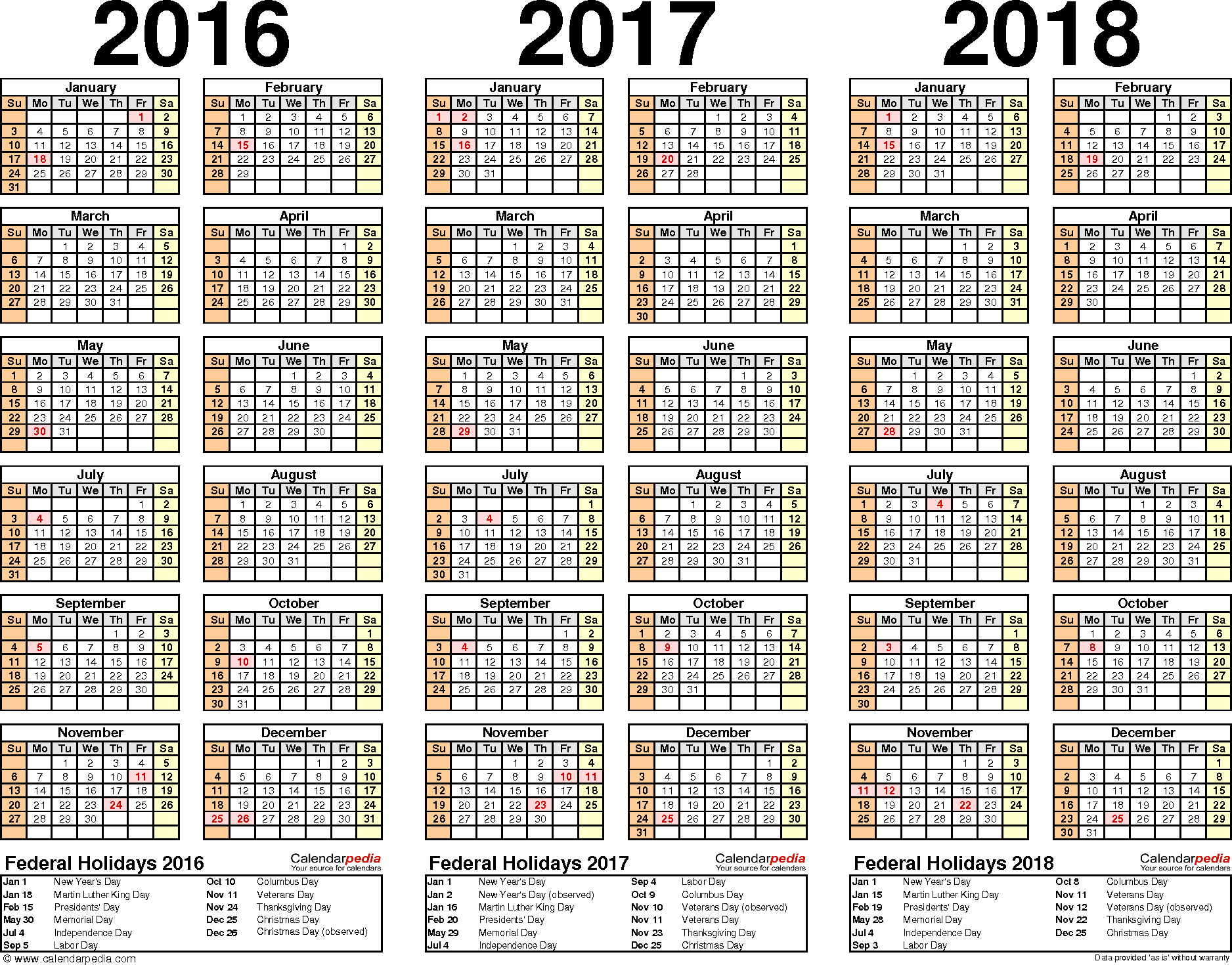 Template 2: Word template for three year calendar 2016/2017/2018 (landscape orientation, 1 page)