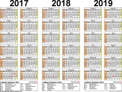 Template 2: Word template for three year calendar 2017/2018/2019 (landscape orientation, 1 page)