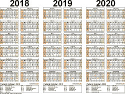 three year calendar 2018 2019 2020 in landscape orientation