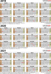 Template 4: Excel template for three year calendar 2019-2021 (portrait orientation, 1 page)