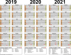 Template 2: Excel template for three year calendar 2019-2021 (landscape orientation, 1 page)