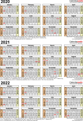 Three year calendar templates for 2020/2021 in Microsoft Excel format