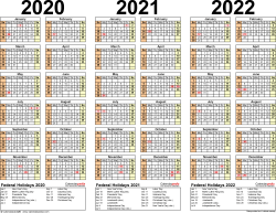 Template 2: Excel template for three year calendar 2020-2022 (landscape orientation, 1 page)