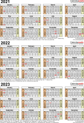 Template 4: Excel template for three year calendar 2021-2023 (portrait orientation, 1 page)