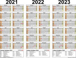 Template 2: Excel template for three year calendar 2021-2023 (landscape orientation, 1 page)