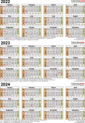 Template 4: Excel template for three year calendar 2022-2024 (portrait orientation, 1 page)