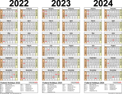 Template 2: Excel template for three year calendar 2022-2024 (landscape orientation, 1 page)