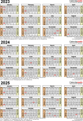 Three year calendar templates for 2023/2024 in Microsoft Excel format