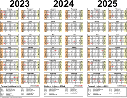 Download Template 2: PDF template for three year calendar 2023-2025 (landscape orientation, 1 page)
