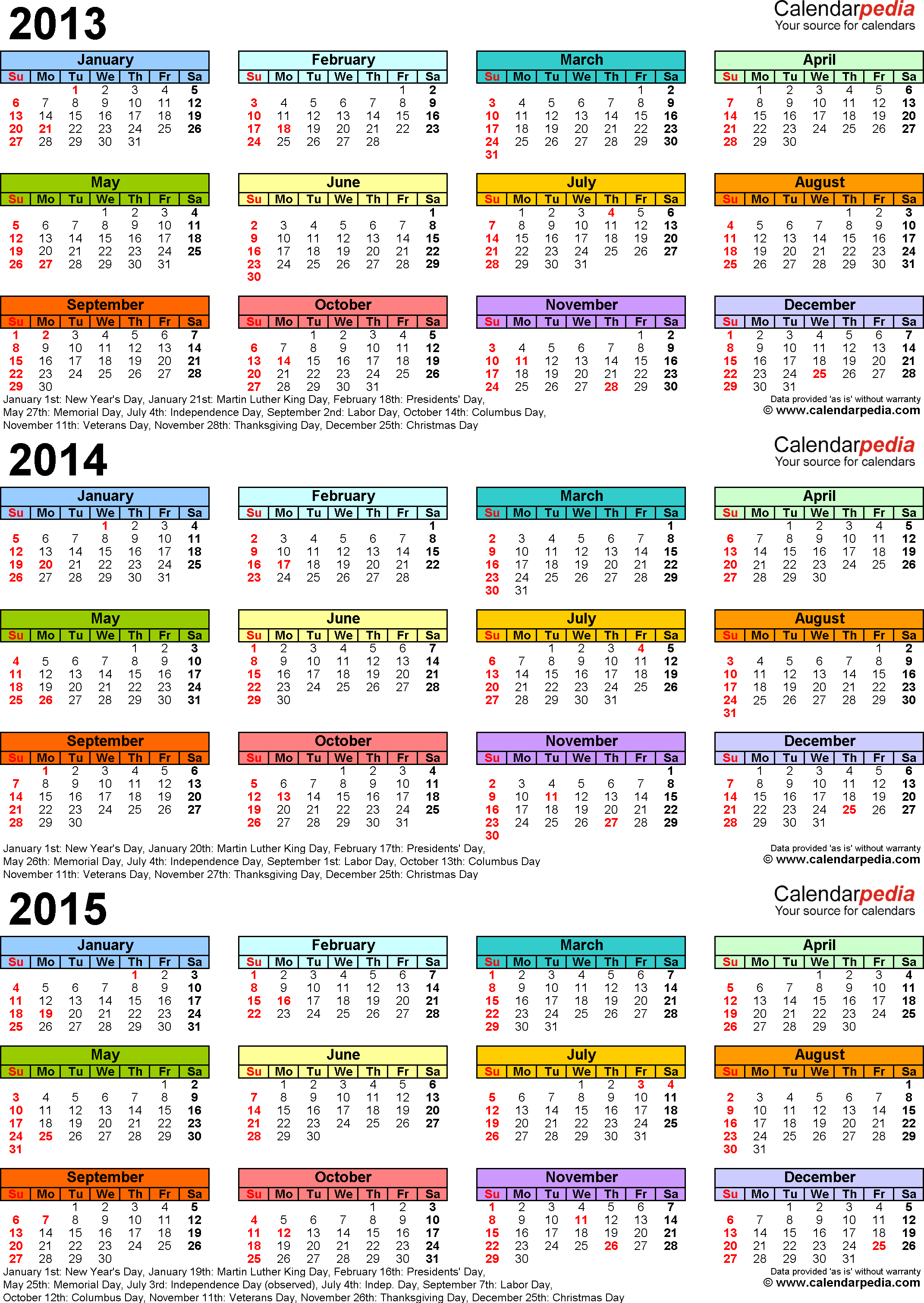2013-2015 three year calendar