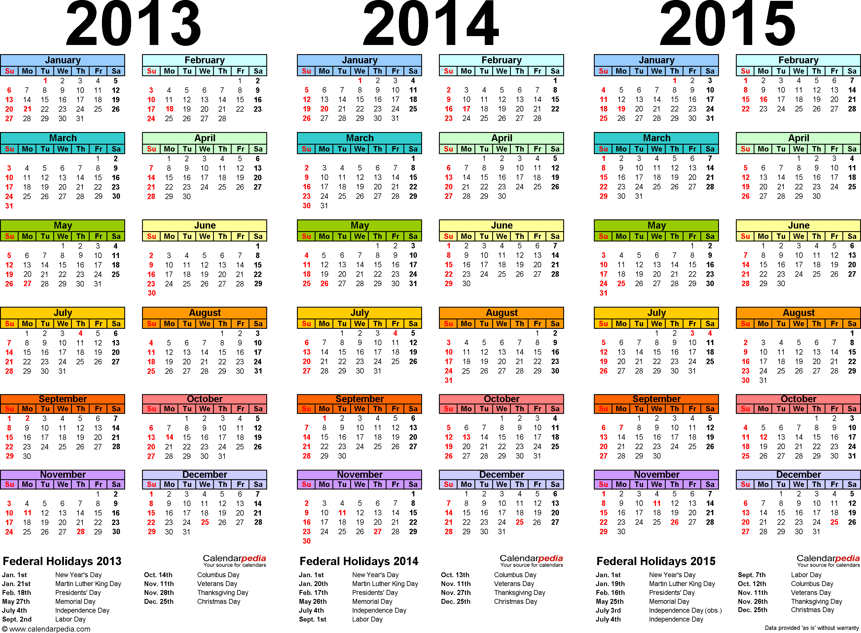 Template 1: Word template for three year calendar 2013-2015 (landscape orientation, 1 page, in color)