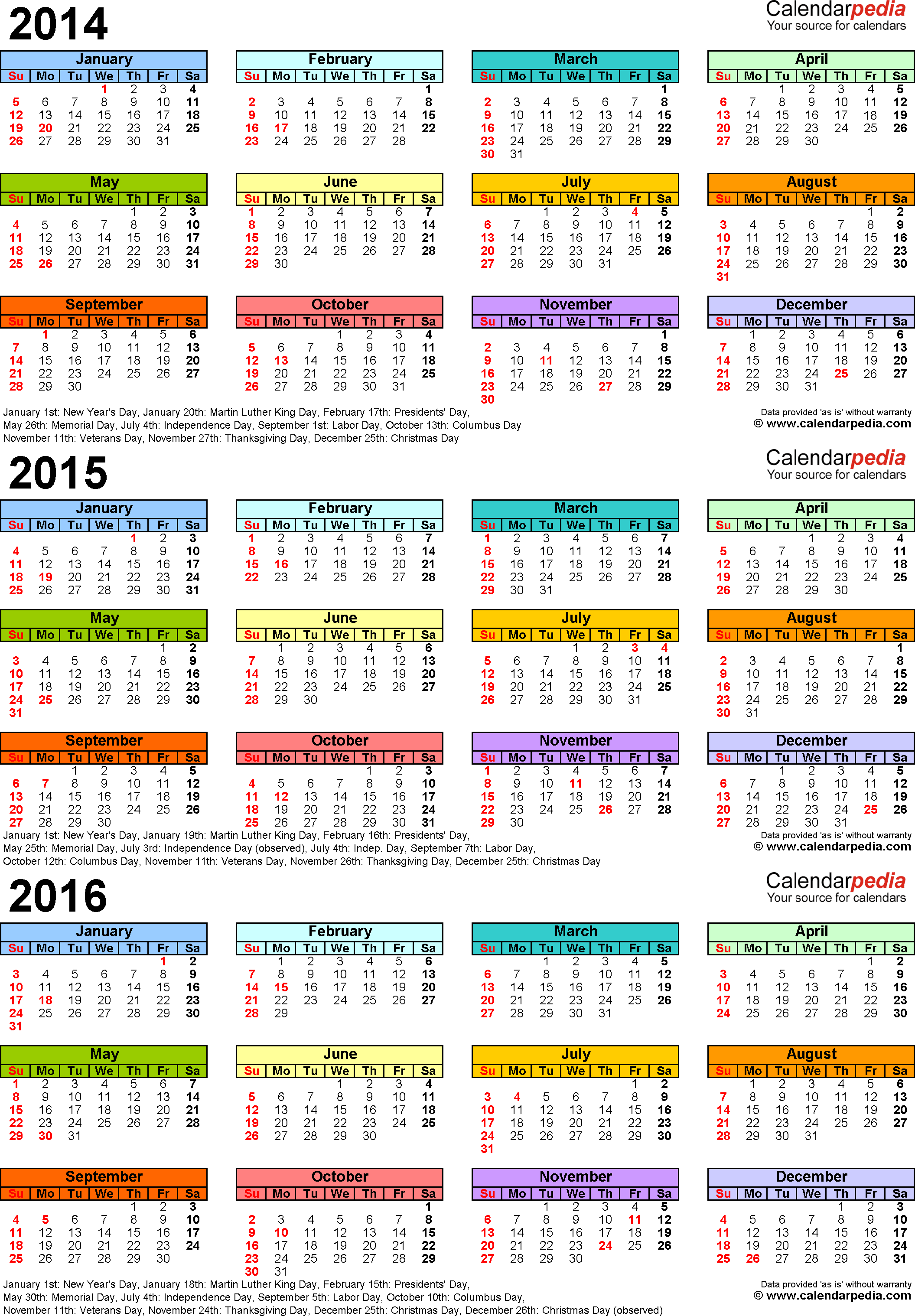 Template 3: PDF template for three year calendar 2014-2016 (portrait orientation, 1 page, in color)