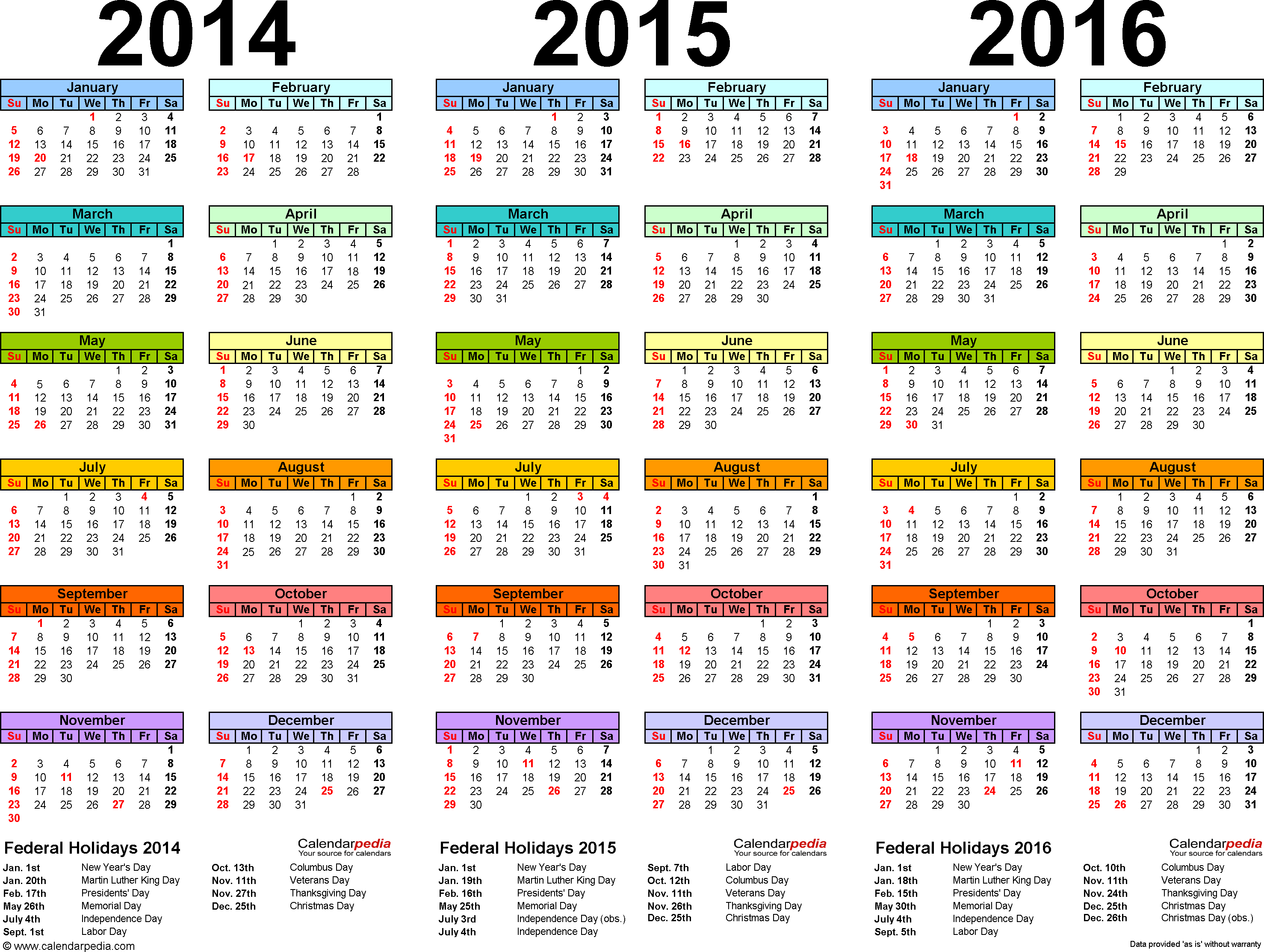 Template 1: PDF template for three year calendar 2014-2016 (landscape orientation, 1 page, in color)