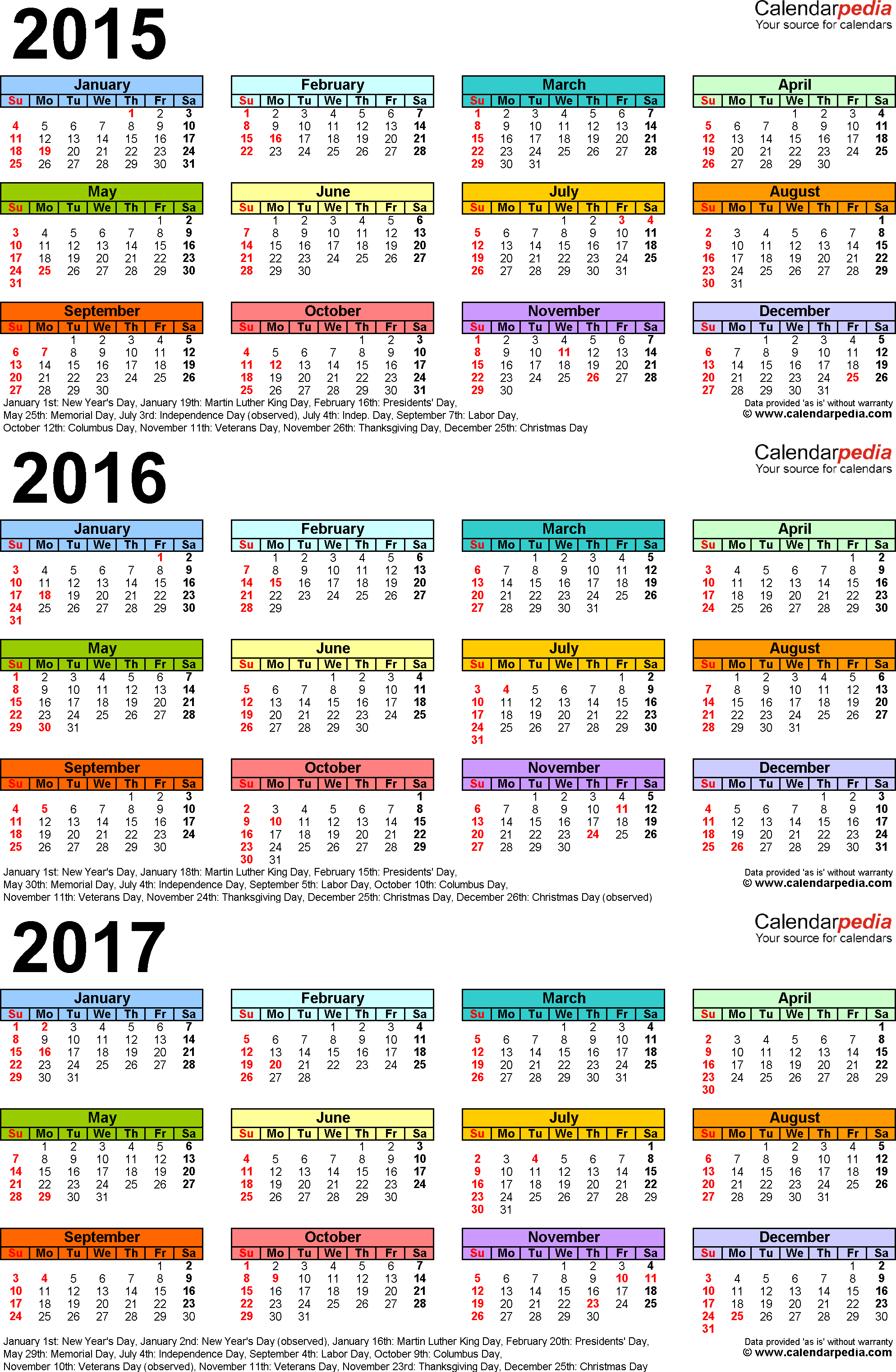 Template 3: Word template for three year calendar 2015-2017 (portrait orientation, 1 page, in color)