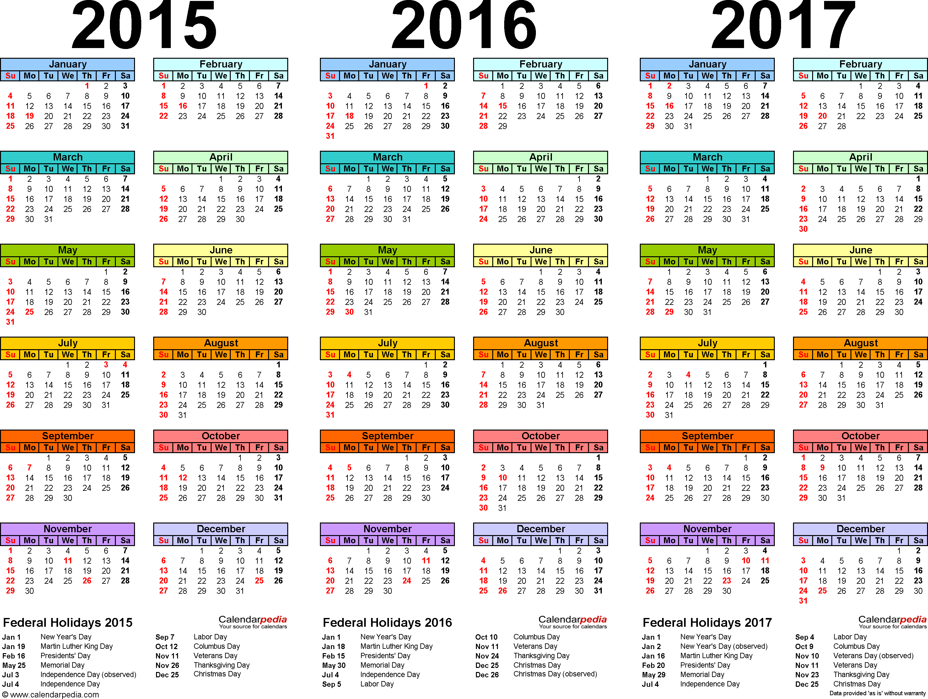Template 1: PDF template for three year calendar 2015/2016/2017 (landscape orientation, 1 page, in color)