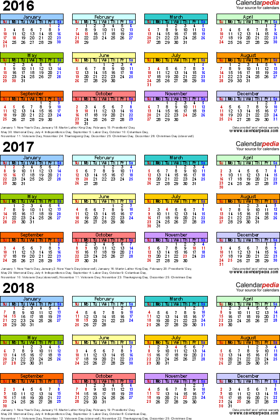 Template 3: Word template for three year calendar 2016/2017/2018 (portrait orientation, 1 page, in color)