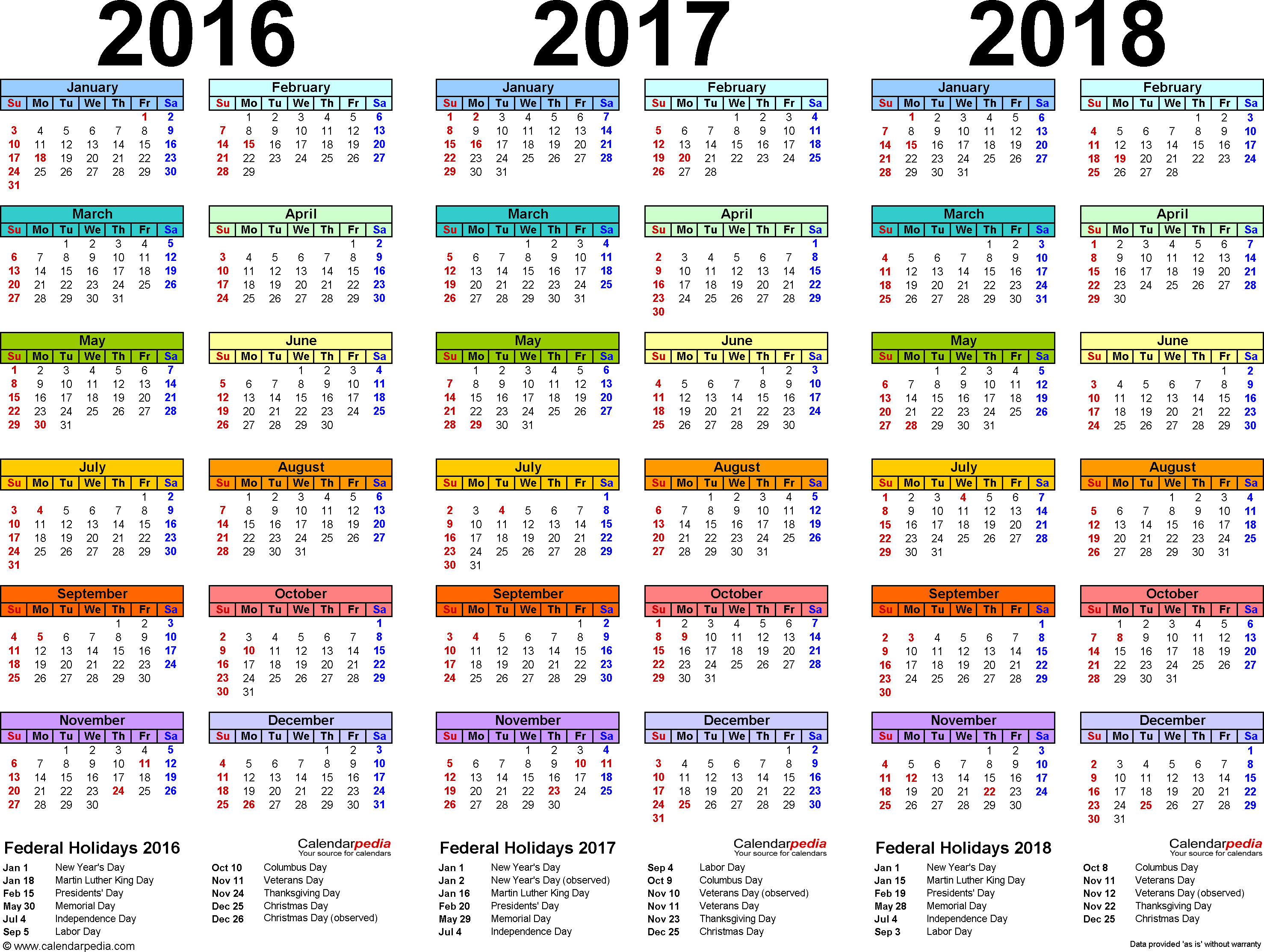 Template 1: Word template for three year calendar 2016/2017/2018 (landscape orientation, 1 page, in color)