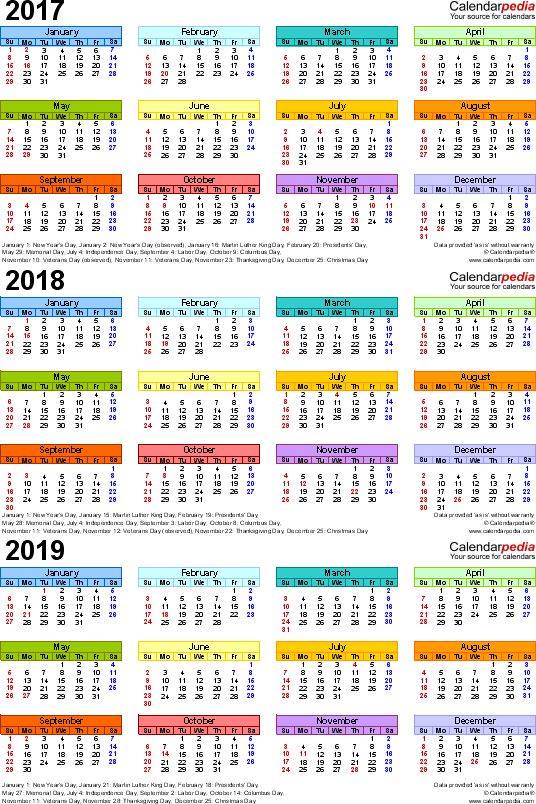 Template 3: Excel template for three year calendar 2017-2019 (portrait orientation, 1 page, in color)