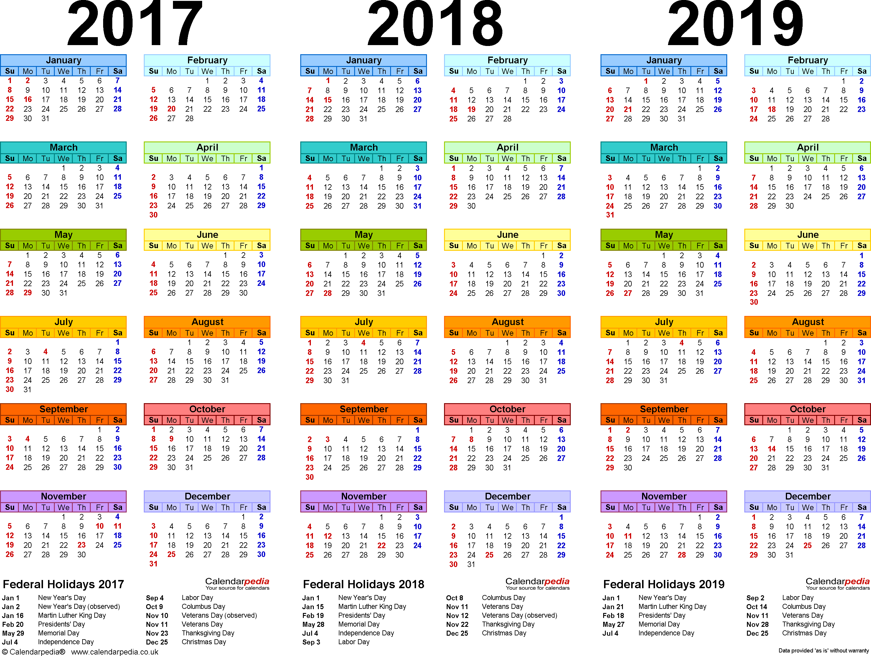 Template 1: Word template for three year calendar 2017/2018/2019 (landscape orientation, 1 page, in color)