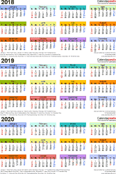 Template 3: Excel template for three year calendar 2018/2019/2020 (portrait orientation, 1 page, in color)