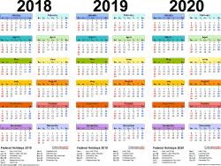 Template 1: PDF template for three year calendar 2018-2020 (landscape orientation, 1 page, in color)