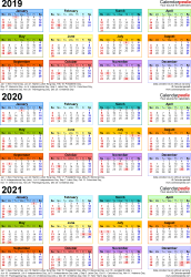 Template 3: Excel template for three year calendar 2019-2021 (portrait orientation, 1 page, in color)