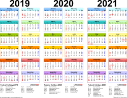 Template 1: PDF template for three year calendar 2019-2021 (landscape orientation, 1 page, in color)