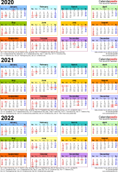 Template 3: Excel template for three year calendar 2020-2022 (portrait orientation, 1 page, in color)