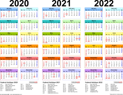 Download Template 1: Microsoft Word template for three year calendar 2020-2022 (landscape orientation, 1 page, in color)