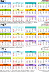 Download Template 3: Microsoft Excel template for three year calendar 2021-2023 (portrait orientation, 1 page, in color)
