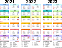 Template 1: PDF template for three year calendar 2021-2023 (landscape orientation, 1 page, in color)