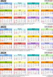 Template 3: Excel template for three year calendar 2022-2024 (portrait orientation, 1 page, in color)