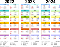 Download Template 1: Microsoft Excel template for three year calendar 2022-2024 (landscape orientation, 1 page, in color)