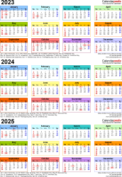 Download Template 3: Microsoft Excel template for three year calendar 2023-2025 (portrait orientation, 1 page, in color)